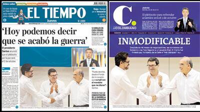 Así contaron los diarios colombianos el histórico acuerdo de paz