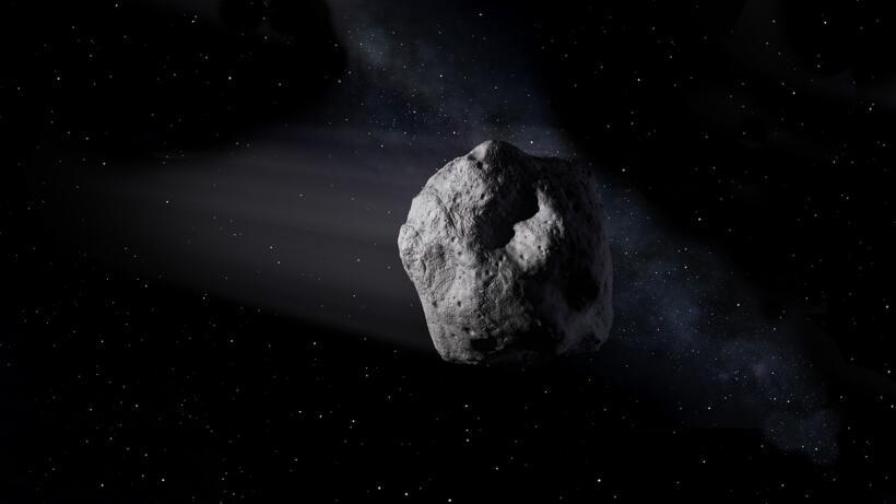 Recreación artística de un asteroide cerca de la Tierra.