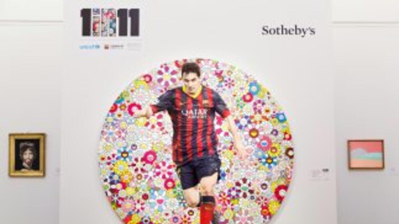"""El lienzo del japonés Takashi Murakami """"Lionel Messi and a Universe of F..."""