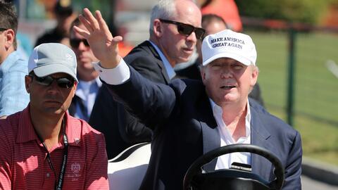Trump at his golf course in Miami, Florida.
