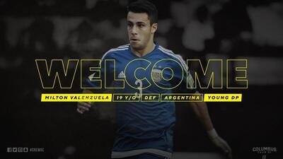 Columbus Crew contrata al argentino Milton Valenzuela como Jugador Franquicia Juvenil