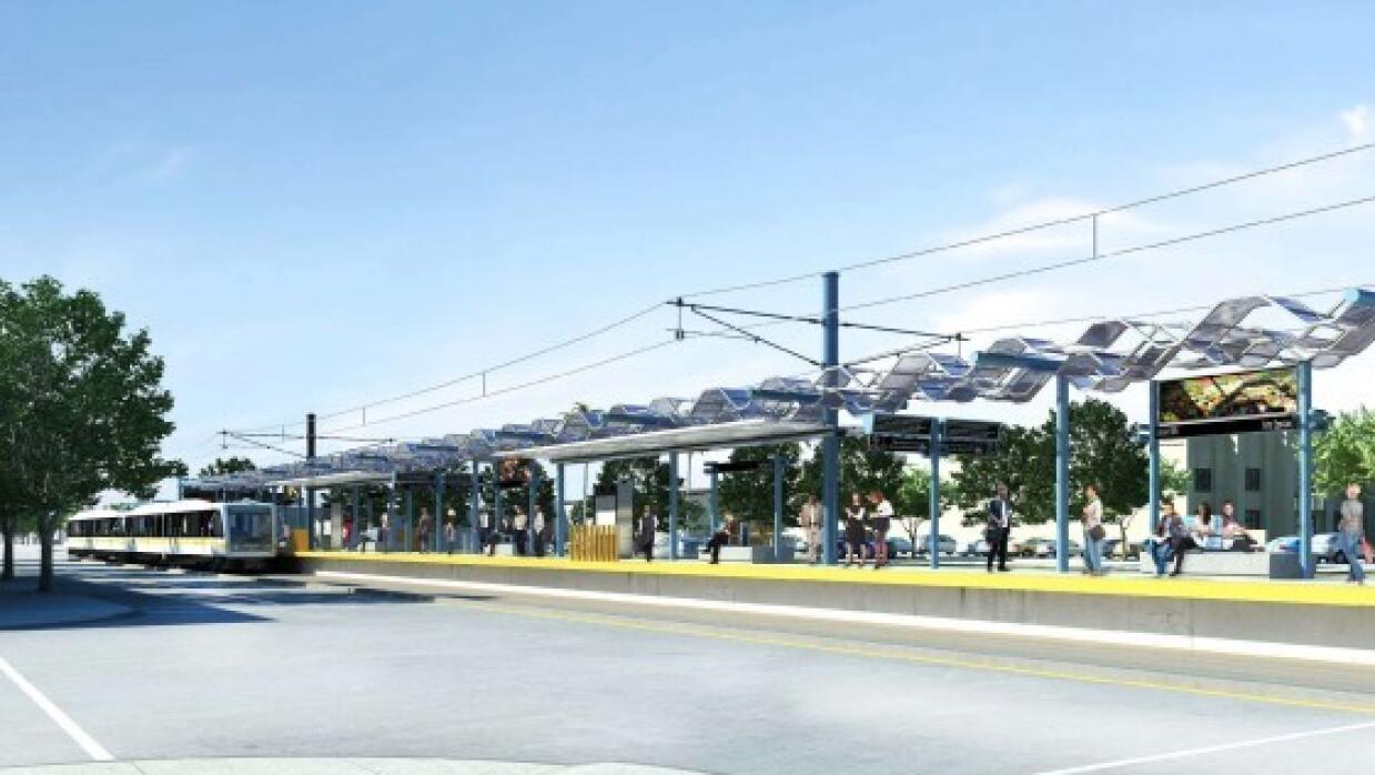 Expo Line estación en la calle 17 en Santa Mónica
