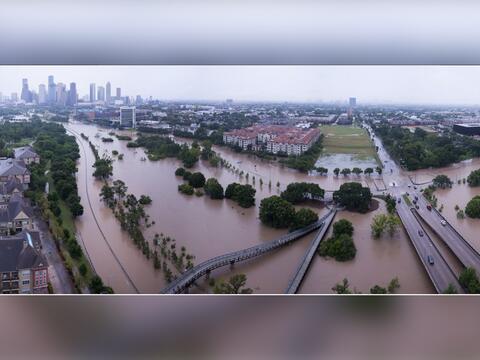Impresionante imagen aérea de las inundaciones en los alrededores del ar...