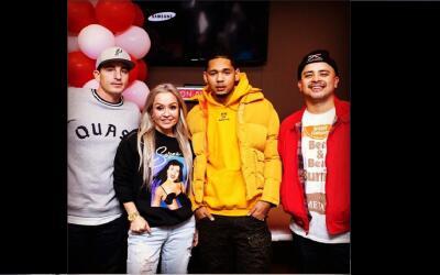Houston rapper Dice SoHo poses for a photo with DJ Automatic, Dana Corte...
