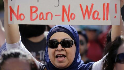 Manifestación contra el veto a refugiados e inmigrantes de seis países d...