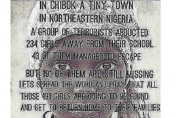 La famosa se unió a las protestas por las niñas secuestradas en Nigeria...