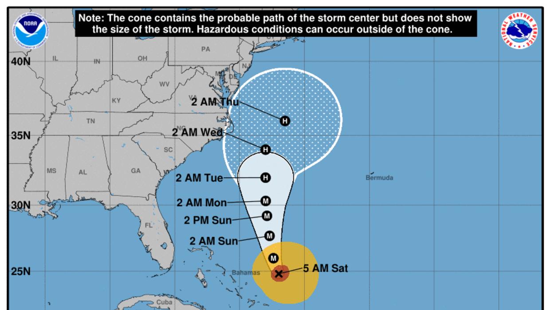 Situación del huracán María a las 5:00 am, alejándose de Bahamas.