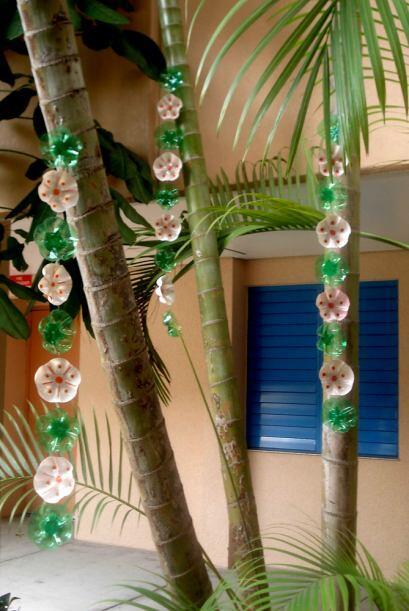 Flores colgantes ahora adornan las palmeras.