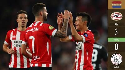 Con gol del 'Chucky', PSV goleó 3-0 al Ajax en el clásico y es más líder que nunca en Holanda