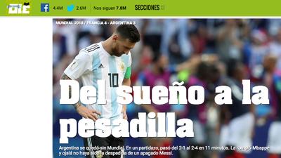 La eliminación de Argentina y Lionel Messi de Rusia 2018 en medios del mundo