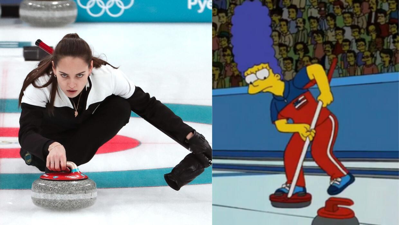 Patinadora enseña un pecho durante rutina en Olímpicos de Invierno curli...