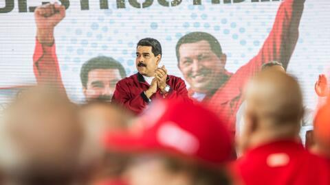 El mandatario Nicolás Maduro participa en un acto proselitista ju...