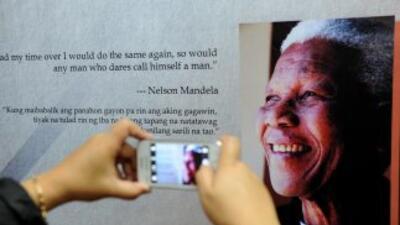 Muestras de afecto hacia Nelson Mandela.