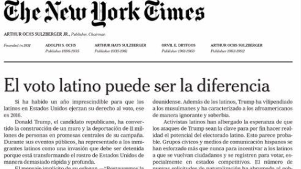 As hizo el 39 new york times 39 su primer editorial impreso for Ejemplo de una editorial de un periodico mural