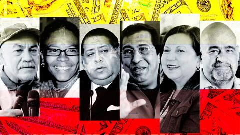 De izquierda a derecha, los funcionarios venezolanos Darío Vivas,...