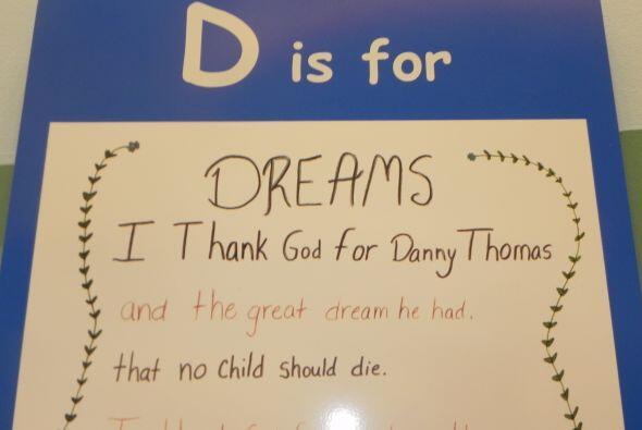 Dreams, sueños, escribe un niño de St. Jude...doy las gracias a Danny Th...