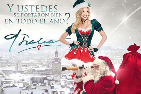 Thalía ya comenzó a festejar la navidad, hasta se pus&oacu...