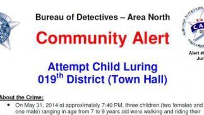 Alerta comunitaria por intento de rapto de 3 niños.