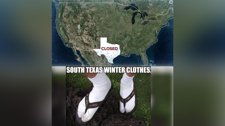 El frío también desató la creatividad de los texano...