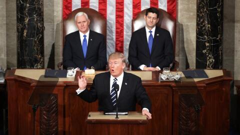 El presidente Donald Trump durante su discurso ante el Congreso en Pleno.