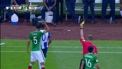 Tarjeta amarilla. El árbitro amonesta a Mario Martínez de Honduras