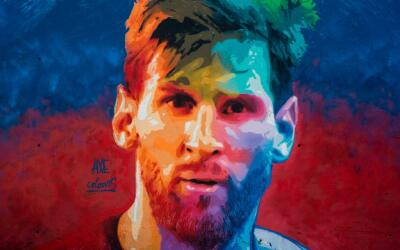 Lionel Messi en un graffiti.