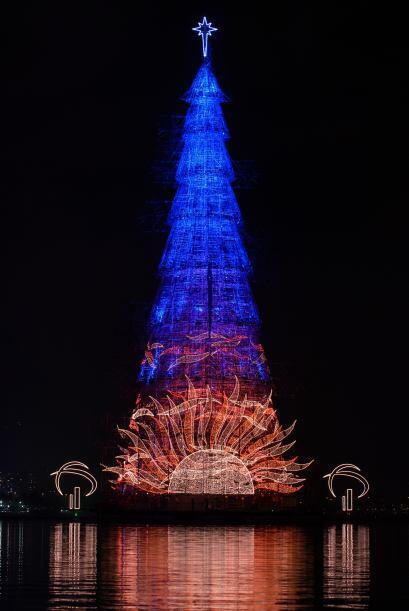 El gigante y hermoso árbol de navidad mide alrededor de 278 pies (85 met...