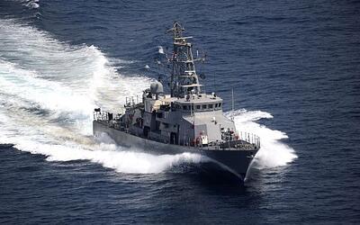 El patrullero USS Firebolt en una foto de archivo durante un ejercicio e...