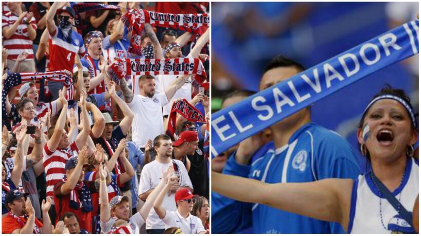 Aficionados de EEUU y El Salvador en la Copa Oro