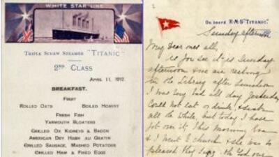 La única carta escrita la noche de 1912 en la que el Titanic chocó contr...