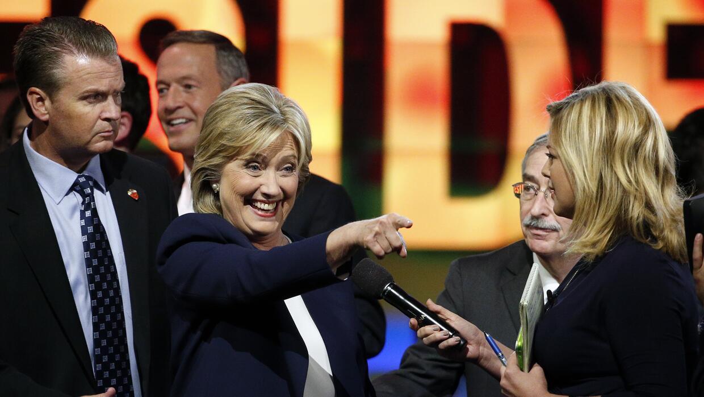 Hillary Clinton al término del debate demócrata
