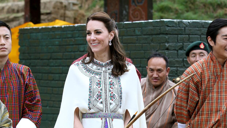 Así lució la duquesa para conocer a los reyes de Bután.