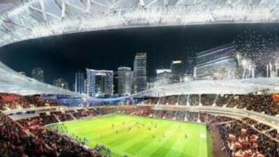 Diseño del estadio que Beckham quiere construir en Miami.