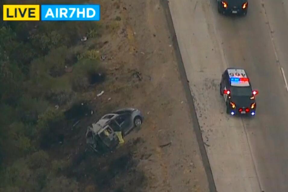 Imagen aérea del accidente mortal en Gorman, en el condado de Los...