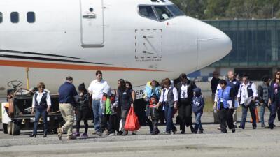 Primeras cuatro familias deportadas de Guatemala.