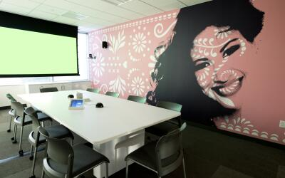 Selena mural inside the Viewer Experience Operations headquarters in San...