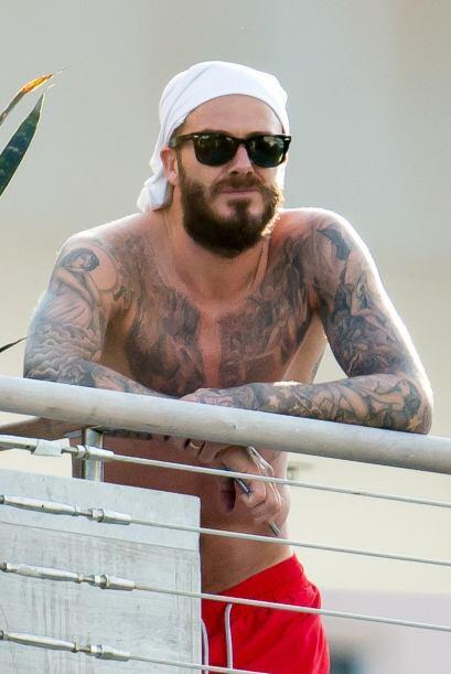 Beckham presumió su torso y sus muchos tatuajes.