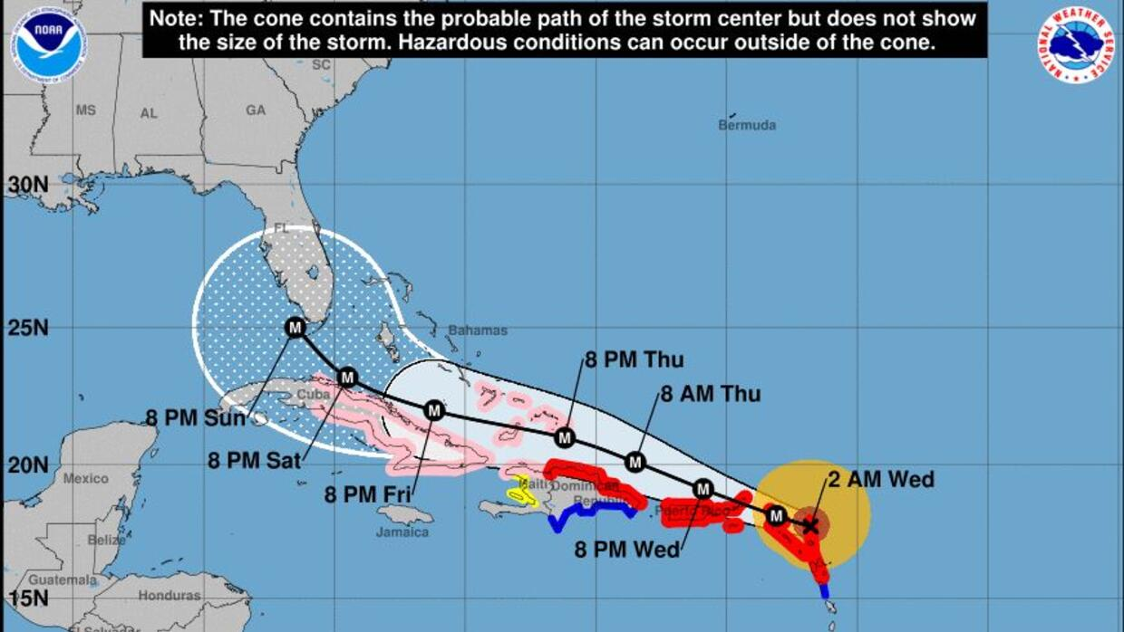 The U.S. National Hurricane Center's track of Irma as it made it&#39...