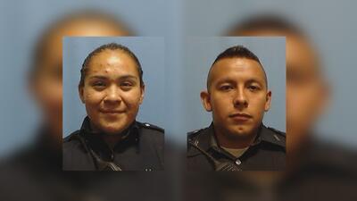 Los policías de Dallas, Crystal Almeida y Rogelio Santander, resultaron...