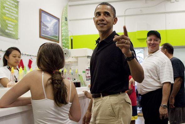 Obama invitó a todos sus acompañantes con helado.