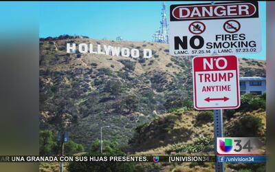 """Letreros """"No Trump Anytime"""" aparecen en Los Ángeles"""