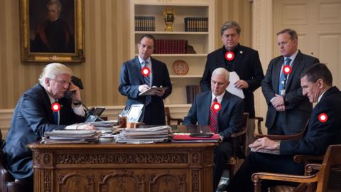 La imagen es del 28 de enero, cuando Donald Trump estaba en sus primeros...
