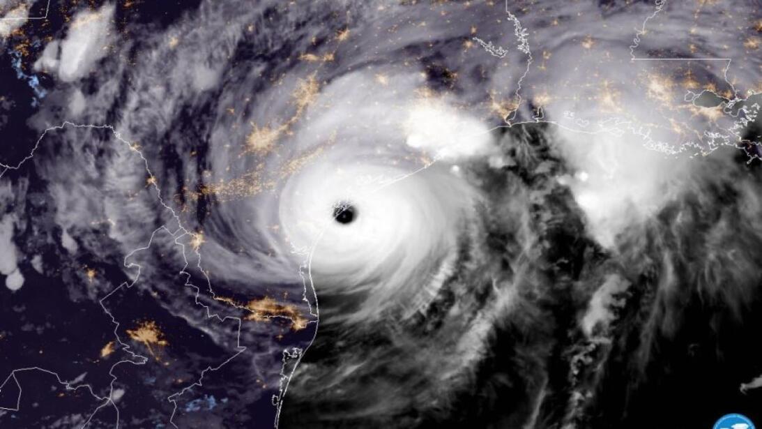 A satellite image of Harvey