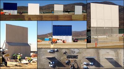 Los prototipos del muro fronterizo que quiere Donald Trump.