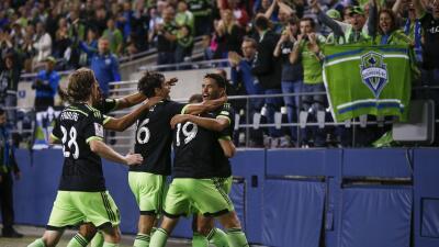 Seattle Sounders celebra su clasificación a cuartos en Champions