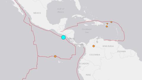 El epicentro del sismo ocurrió en frente de Usulután, en la costa de El...