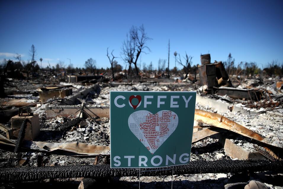 Un cartel frente a una casa de Coffey Park que fue destruida por el ince...
