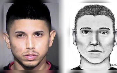 Aaron Juan Saucedo junto al retrato hablado de la policía.