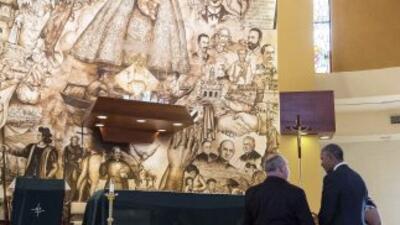 Obama durante su visita a la Ermita del Cobre en Miami.