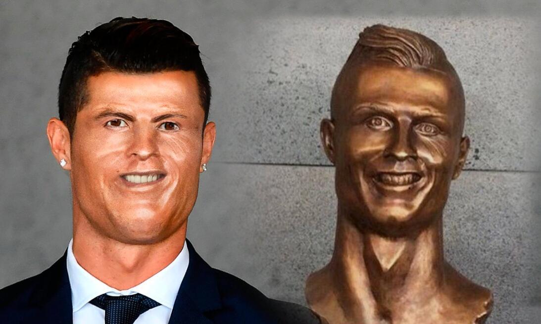 Los memes se burlan de Cristiano Ronaldo y su deforme escultura C8F-s5-V...